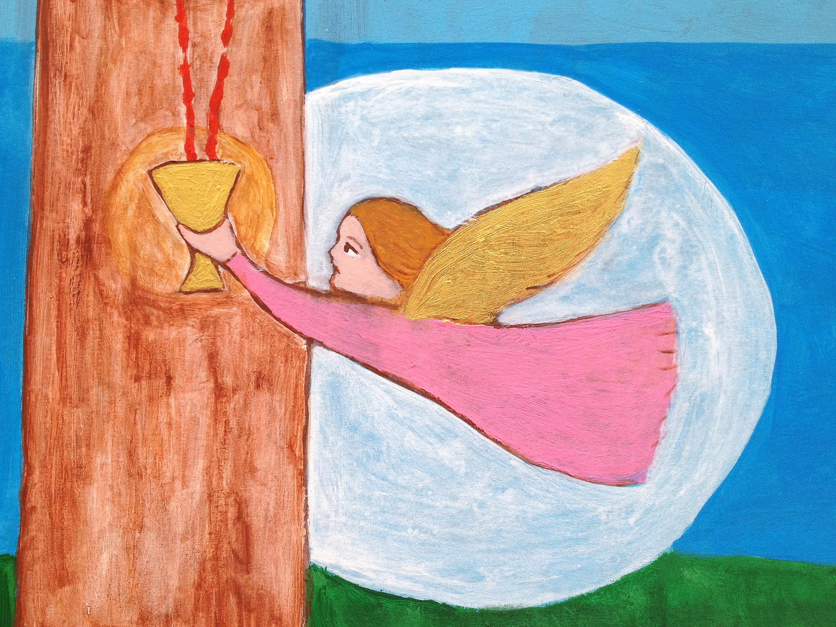 Dettaglio, Crocifissione, Gli angeli raccolgono il sangue di Gesù Cristo  nel sacrificio Eucaristico,  per portarlo sugli altari di tutta la Terra, nell'Ostia divina, 2015